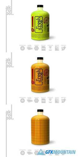 Juice Bottle Packaging Mock-Up 3047593