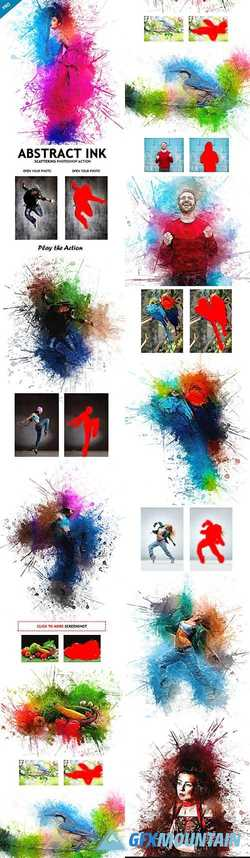 Abstract Ink Scattering Photoshop Action 23158410