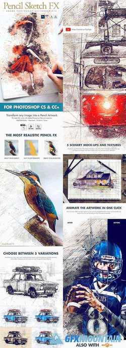 Animated Pencil Sketch FX - Photoshop Add-On 23391849