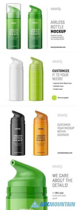 Glossy airless bottle mockup 3371140