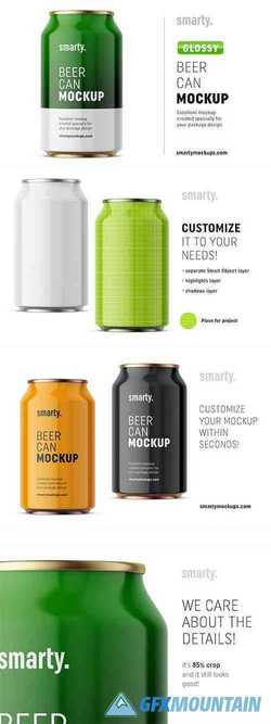 Glossy drink can mockup front 3370908