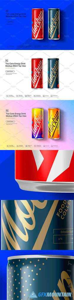 Two Cans Energy Drink Mockup 250ml T 3580775