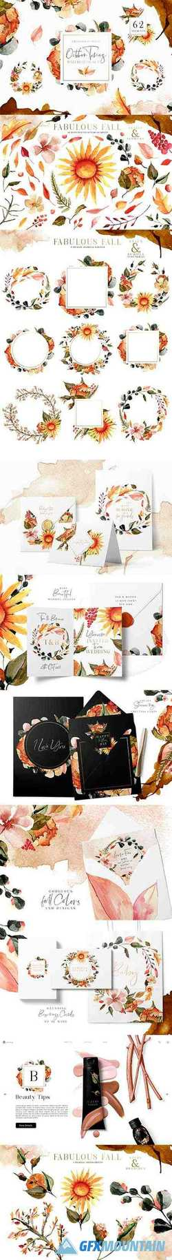OCTOBER TONES WATERCOLOR CLIPART - 3072391