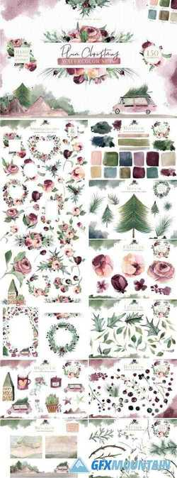 PLUM CHRISTMAS WATERCOLOR CLIPART - 3120446