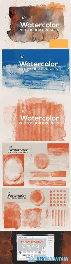 12 Transparent Watercolor Photoshop Brushes