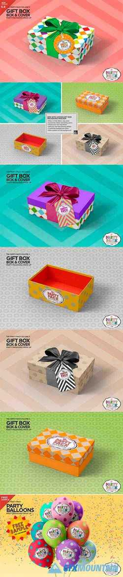 Gift Box with Cover Packaging Mockup 3733922