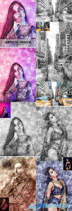 Artistic Sketch Photoshop Action 23796175
