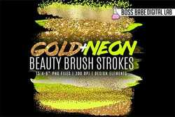 Neon and Gold Beauty Brush Strokes - 257118