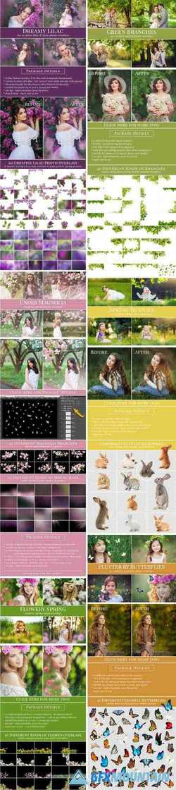 SPRING PHOTO OVERLAY BUNDLE: BUNNIES, MAGNOLIA, BUTTERFLIES, LILACS, TREES + MORE!