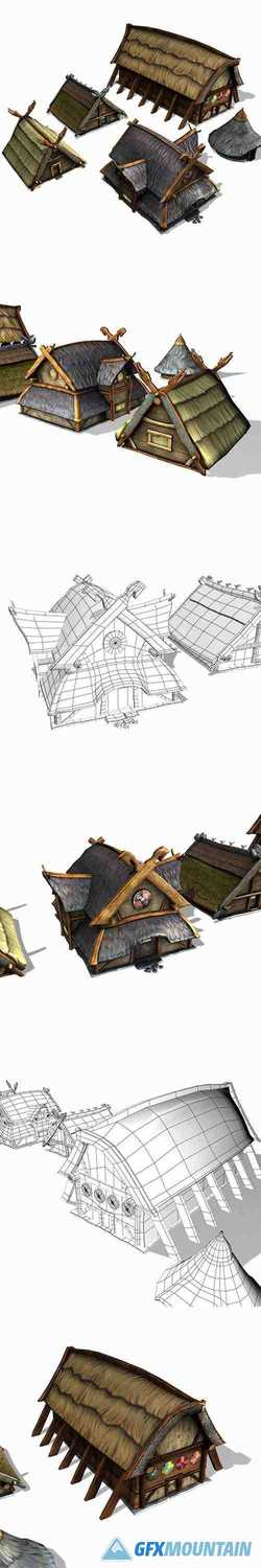 Viking Building Pack Low-poly 3D model