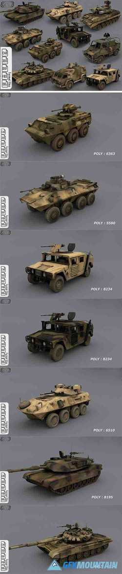 Army vehicles - Ready for games Low-poly 3D model