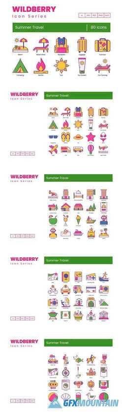 80 Summer Travel Icons Wildberry Series