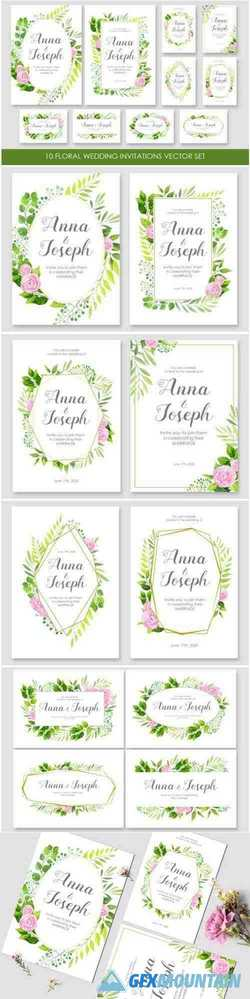 Floral Wedding Invitations Vector Set 1447223 Free
