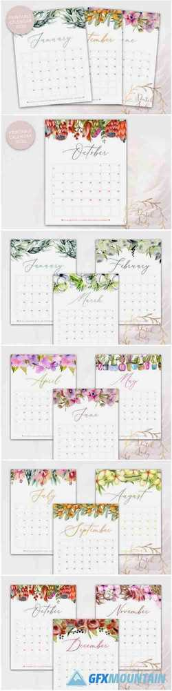 Printable Monthly Calendar 2020 Florals 1552044