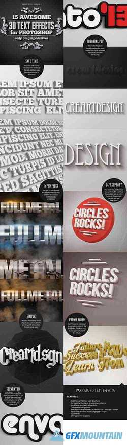 15 Various 3D Text Effects for Photoshop - Pack 5912325