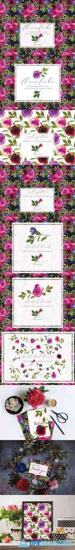 Watercolor Rose Clipart Collection 1652853