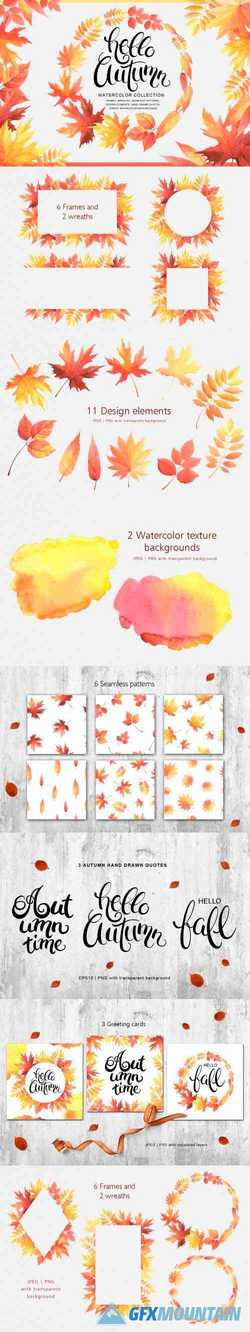 Hello Autumn watercolor collection - 296973