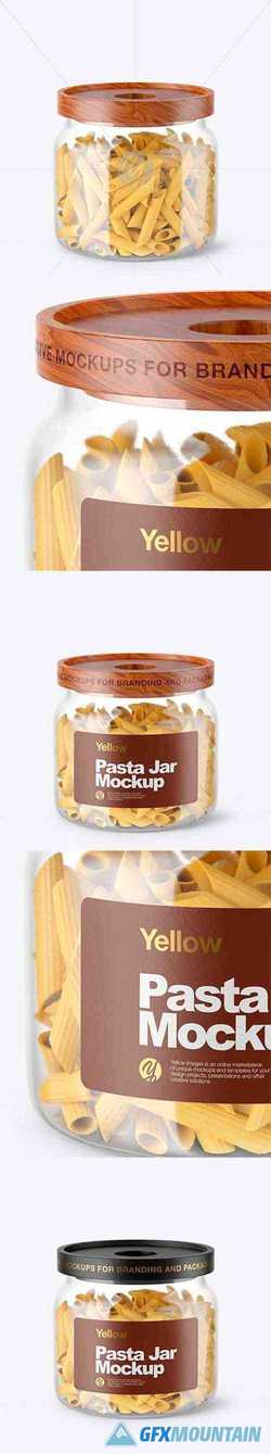 Glass Jar with Pasta Mockup