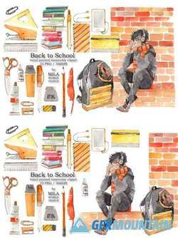 Back to School Watercolor Clip Art 1694123