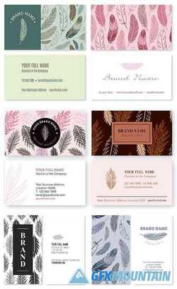 Business Card Template with Feathers Nature Theme Set