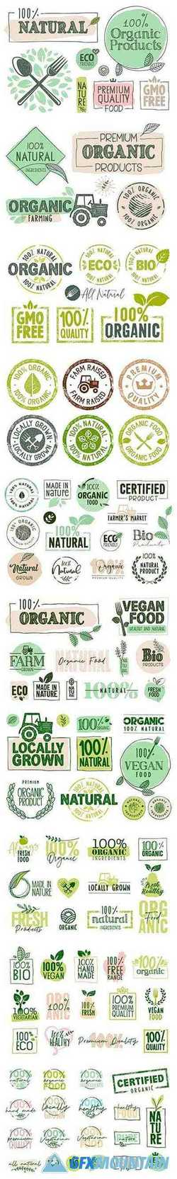 Organic Food Labels and Badges Collection