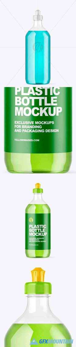 Clear Plastic Bottle with Squeeze Cap Mockup