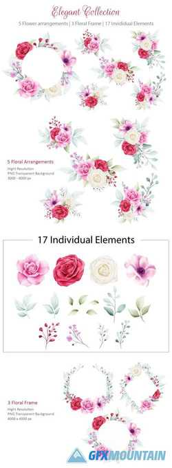 ELEGANT WATERCOLOR FLOWERS BOUQUET AND FRAME COLLECTION - 312689