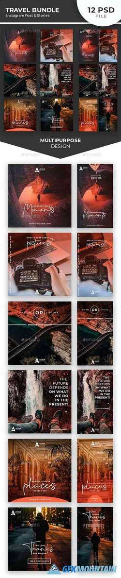 Travel Instagram Post & Stories Bundle 24374518