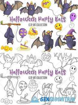 Halloween Party Bats Clip Art Collection and Digital Stamps - 346404