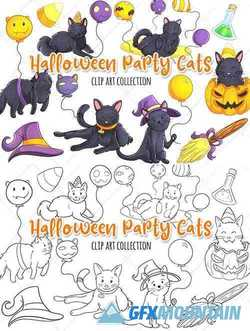 Halloween Party Cats Clip Art Collection and Digital Stamps - 346400