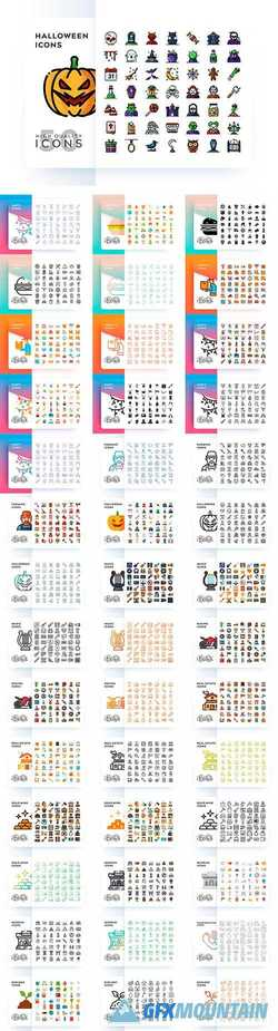 Set of Different Styles and Items Vector Icons More 2000 Icons