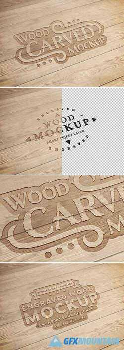 Carved Wood Text Effect Mockup 288921401