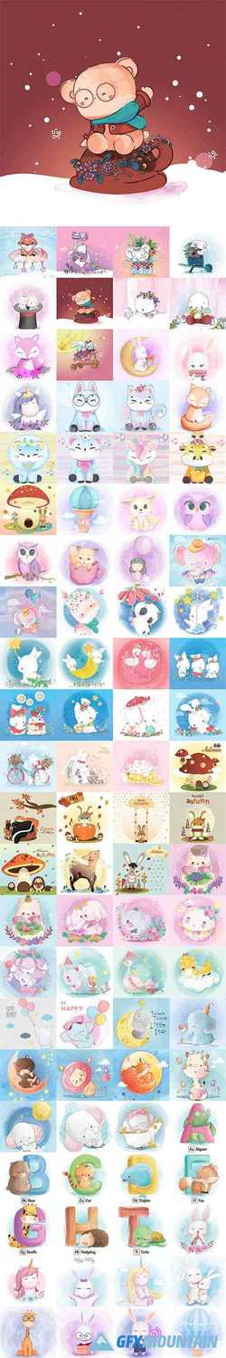 Hand Draw Lovely Cute Watercolor Animal Vector Pack