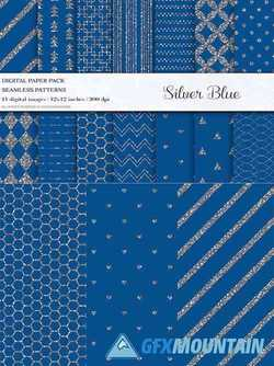Blue Silver Digital Papers - 4107828