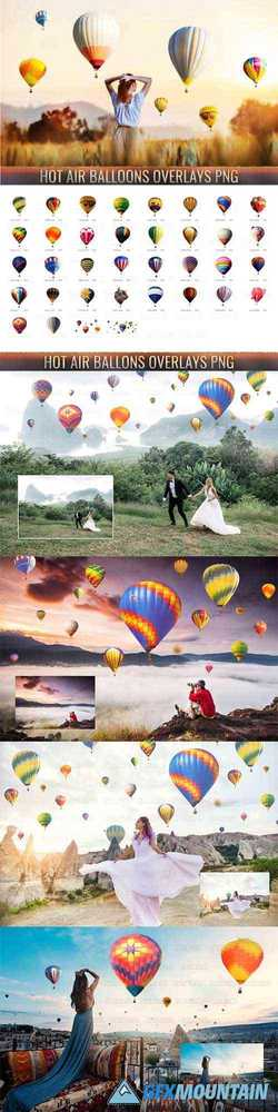36 HOT AIR BALLOON PHOTO OVERLAYS, AEROSTAT PNG PHOTOSHOP - 374439