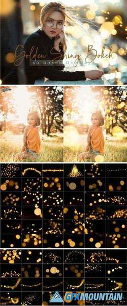 60 GOLDEN SHINY BOKEH LIGHTS EFFECT PHOTO OVERLAY PACK - 380816