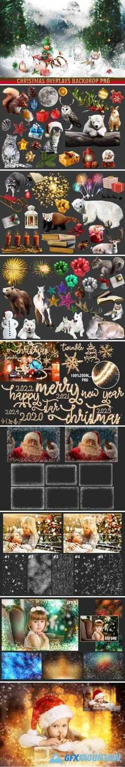 150 Christmas Overlays Photoshop 1993767