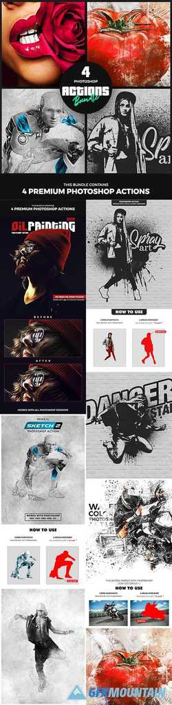 4 Photoshop Actions Bundle - Nov19 25078251