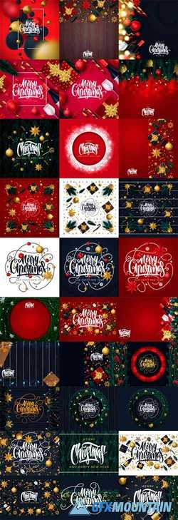 Merry Christmas and Happy New Year Greeting Card Illustration Pack