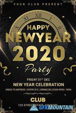Happy new year party flyer design
