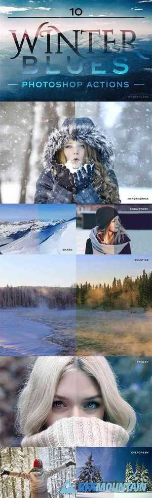 10 Winter Blues Photoshop Photo Effect Actions