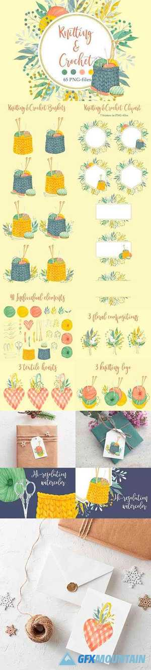 Watercolor Knitting and Crochet - 4319048