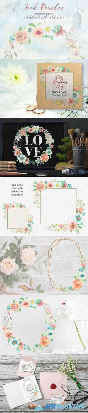 Iced Peaches Watercolor Wreath and Frames