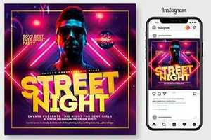 Street Night Party Flyer Template 4445067