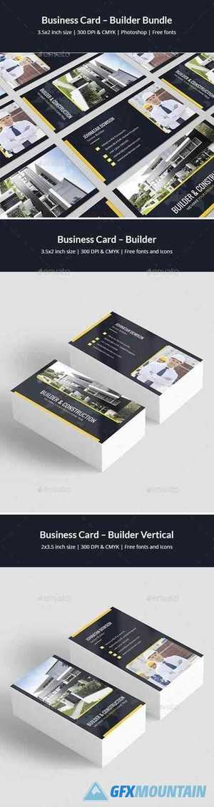 Business Card – Builder Bundle Print Templates 2 in 1 25511706