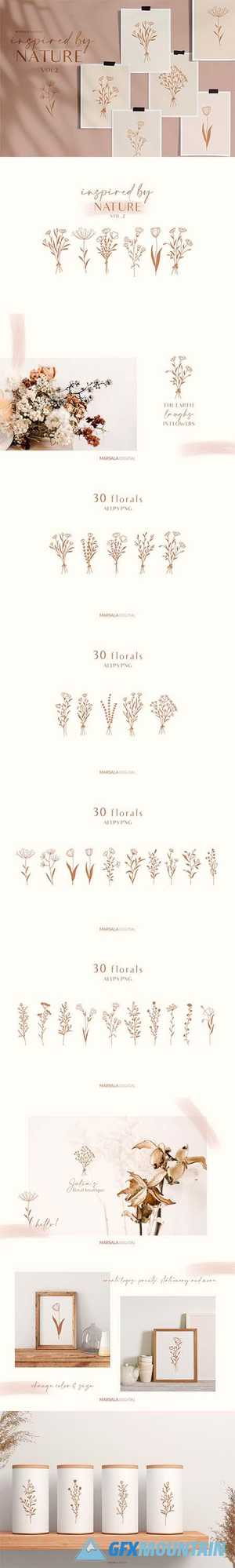 Floral Line Drawings Logo Elements 4458426