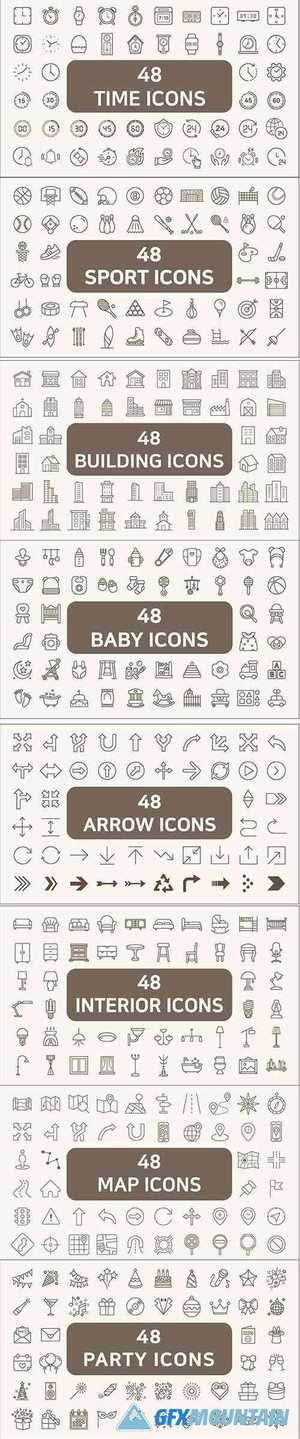 384 Line Style Vector Icons Pack