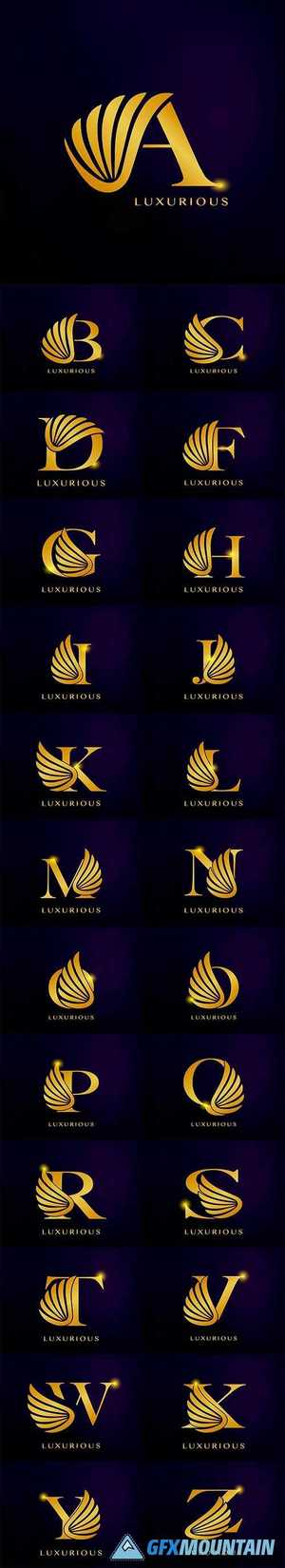 Elegance luxurious wing initial letter logo icon vector design
