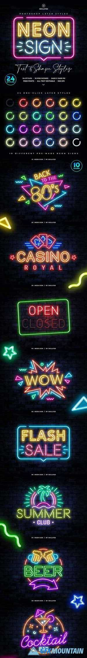 Neon Sign Photoshop Styles 25832553