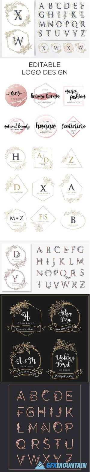 Collection of Wedding Logo Designs with Floral